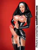 Dirty nun doesn't even hide her lust