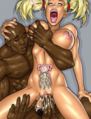 Blonde toon chick feels black cock filling her pussy with huge cum load.