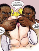Muscular toon black guy penetrating white tight pussy and bringing busty blonde to an orgasm.